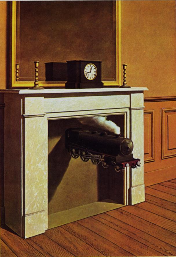locomotive sort d'une cheminée, peinture surréaliste